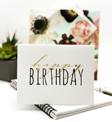 Happy Birthday Gold and Black Script Greeting Card