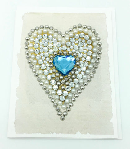 Blue Diamond and Pearl Heart Greeting Card