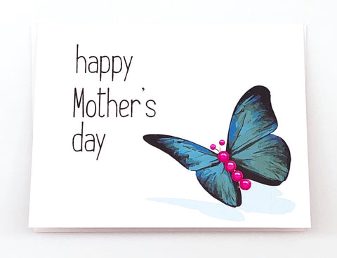 Happy Mother's Day Blue Butterfly Greeting Card