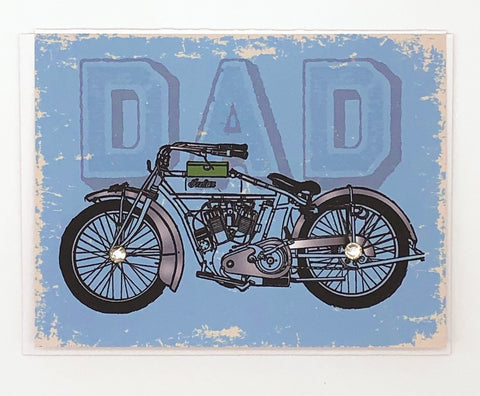 Dad Blue Background Motorcycle Greeting Card