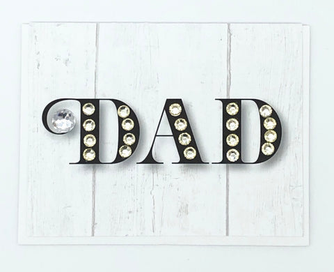 Dad Black with White Sparkle Greeting Card