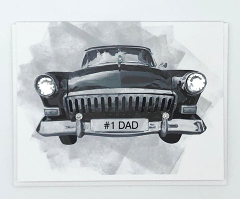 #1 dad licence plate on an old grey retro classic car as a fathers day greeting card