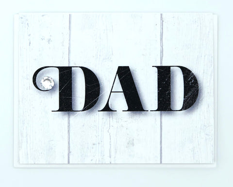 DAD Black Marble on Wood Grain Greeting Card