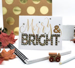 Merry Christmas - Merry & Bright! Greeting Card Gold