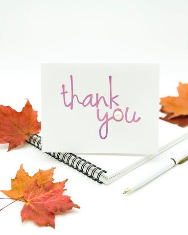 Thanksgiving Greeting Cards - Thank You Purple