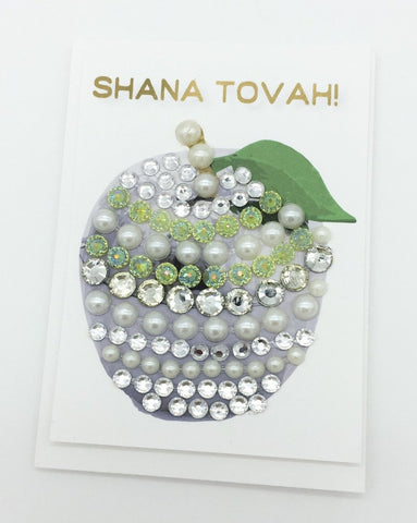 Sparkly apple mini card Rosh Hashana