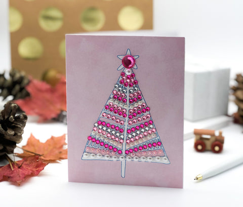 Merry Christmas Tree Greeting Card Pink Sparkles