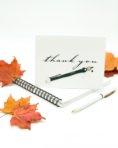 Thanksgiving Greeting Cards - Thank you black pen