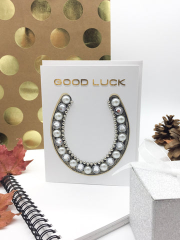 Good Luck Horseshoe Greeting Card Silver