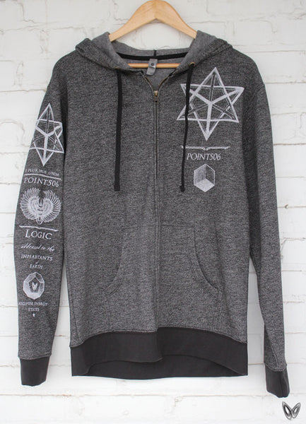 Sacred Geometry Merkaba Hoodie - Black Denim - Point 506