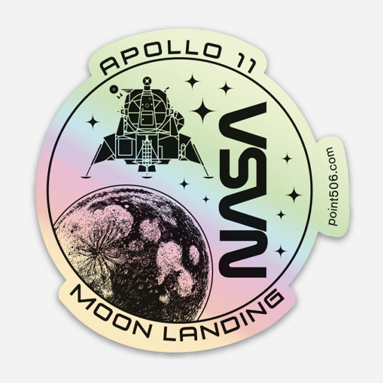 Apollo 11 Moon Landing Sticker - Holographic - Point 506
