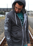 Sacred Geometry Merkaba Hoodie - Digital Grey