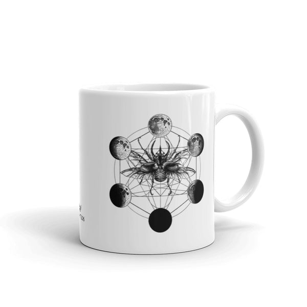 Metatron Cube Beetle Moon Phases Coffee Mug