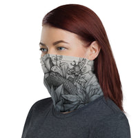 Face Mask/Bandana with Fractal Skull & Snake Ink Drawing - Point 506