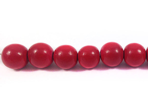 Perles en bois - Rouge brillant - 10 mm - x 10