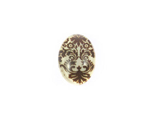 Cabochon ovale en verre - 18 x 13 mm - Motif arabesque marron - x 1