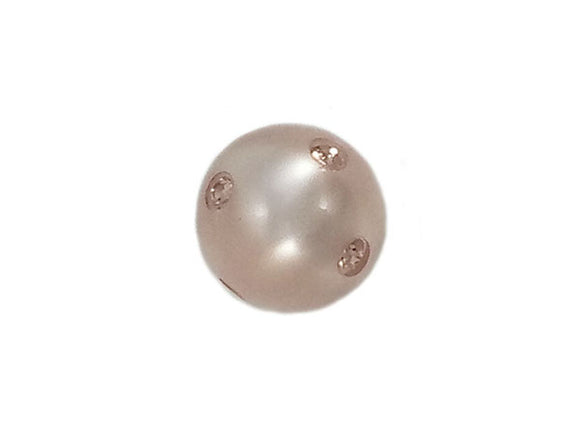 Perle ronde Polaris - 12 mm - Light rose - Brillante et strass Swarovski - x 1