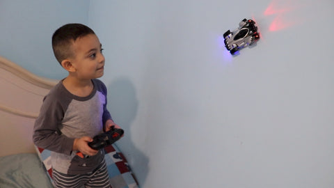 Kids play remote control cars