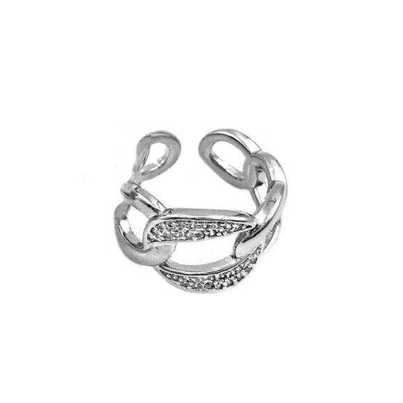 CRYSTAL CHAINLINK RING - SILVER