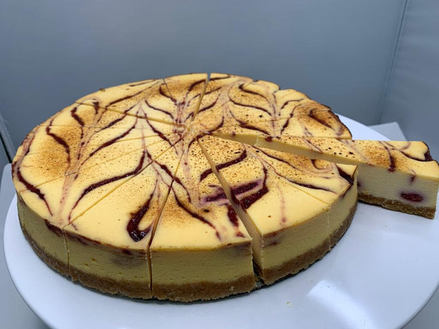 Raspberry & White Chocolate Baked Cheese Cake, Round Pre-cut  (25cm/1.6kg) - Frozen