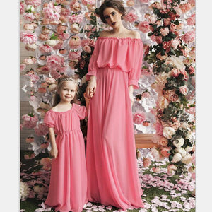 246513dcd81b Summer Style Family Matching Outfits Chiffon Hubble-Bubble Sleeve A Word  Shoulder Dress