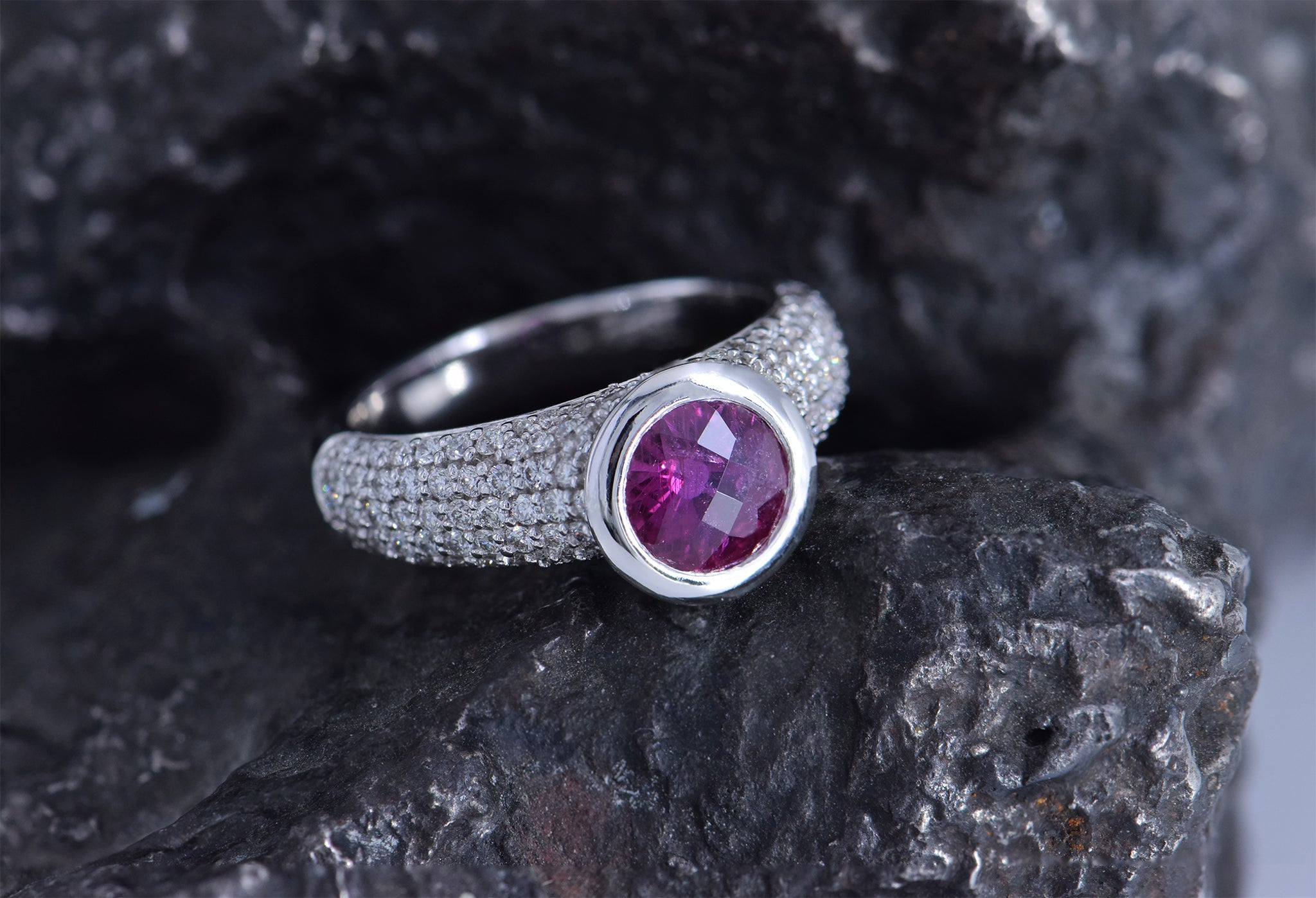 Alchemy Jeweler- Ruby and Diamond Ring - Anza Gems and Temple St Clair - Engagement Ring