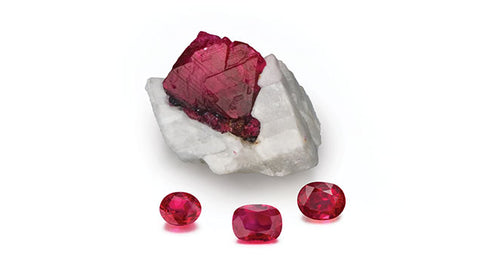 Gemological Institute of America - Ruby Birthstone - Raw and Cut Stones