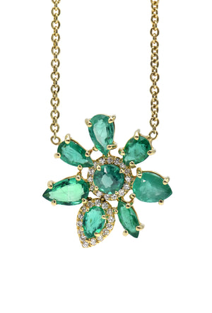 Lauren K Emerald Flower Necklace - Alchemy Jeweler - Portland Oregon