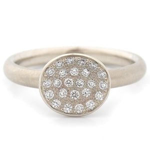 Anne Sportun Mini Petal Pave Diamond Ring in 14k white gold - Alchemy Jeweler