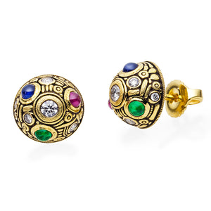 Alex Sepkus Half Dome Stud Earrings 18k yellow gold diamonds, ruby and emerald