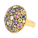 Alex Sepkus Blooming Hill Dome Fashion Ring 18k yellow gold, multi-color sapphires and diamonds