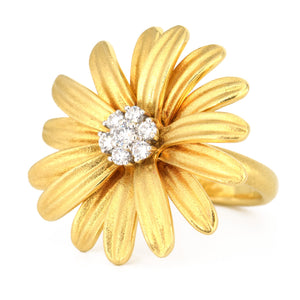 Daisy Ring Aaron Henry 18k yellow gold and diamonds