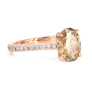 Alchemy Jeweler Oval Fancy Yellow Brown Diamond Engagement Ring in 18k Rose Gold