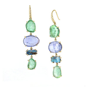 Lauren K Joyce Earrings in 18k yellow gold, Emerald, Boulder Opal, Tanzanite and Diamonds