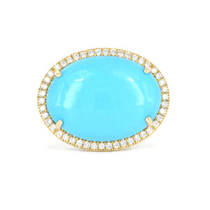Lauren K Mischa Turquoise Ring in 18k yellow gold