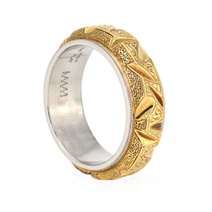 Mark McNown Engraved 18k Yellow Gold Men's Band