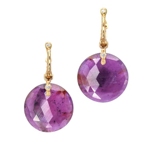 Audrius Krulis Pink Sapphire Drop Earrings