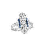 Lord Jewelry Art Deco Blue Sapphire and Diamond Ring