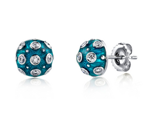 Lord Jewelry Blue Enamel and Diamond Stud Earrings