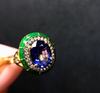 Lord Jewelry Blue Sapphire, Green Enamel Rock Candy Ring