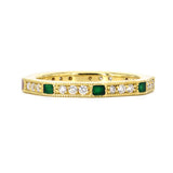 Lord Jewelry 18k Diamond and Green Enamel Band