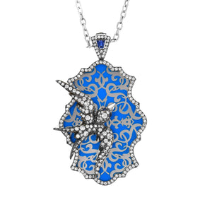 Lord Jewelry Diamond and Sapphire Bird Necklace