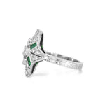 Lord Jewelry Art Deco Emerald and Diamond Ring