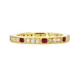 Lord Jewelry 18k Diamond and Red Enamel Band