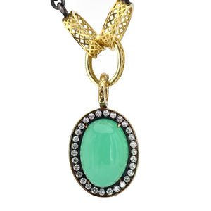 Ray Griffiths Crownwork Chrysoprase and Diamond Pendant