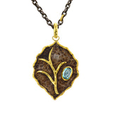 Victor Velyan Leaf Pendant - necklace - Blue Zircon and 24k Gold