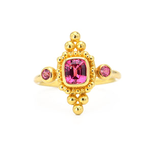 Cherry Spinel and Pink Spinel Ring with 22k gold granualtion