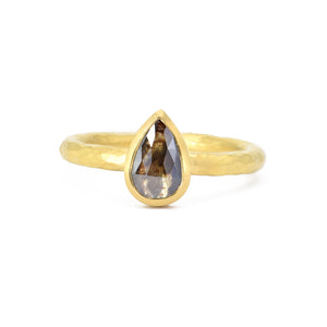 Amanda Linn Rosecut Pear Diamond Ring