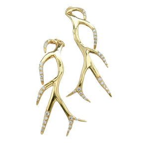 K. Brunini - Antler Diamond Earrings -18k yellow gold