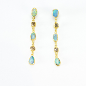Amanda Linn Boulder Opal and Diamond Crystal Chain Earrings